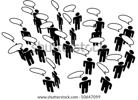 People meeting in a Social Media Network discuss in communication Speech Bubbles - stock photo