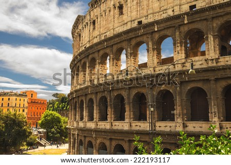 People near the Colosseum in Rome, Italy - stock photo