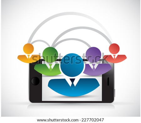 people network link phone illustration design over a white background - stock photo