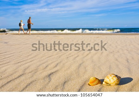People nordic walking on beach with shells - stock photo