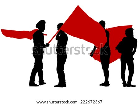 People of anarchia with large flags on white background - stock photo
