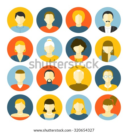 People of different generations avatars portraits icons set isolated  illustration - stock photo
