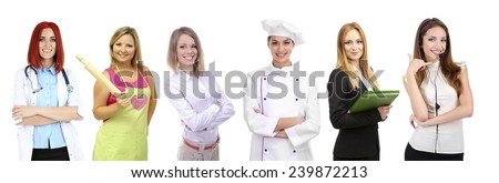 People of different professions and occupations in collage isolated on white - stock photo