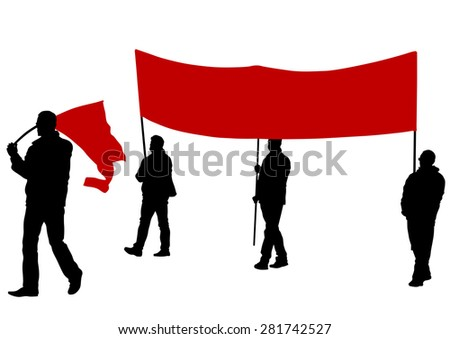 People of with large flags on white background - stock photo
