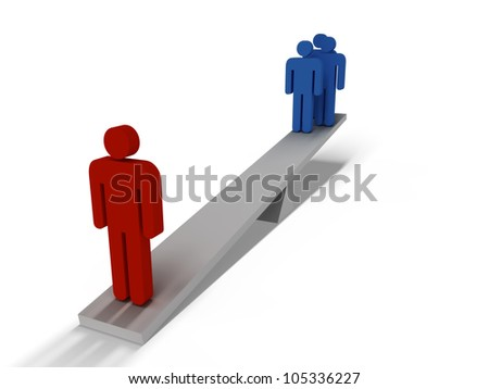 People on a seesaw - stock photo