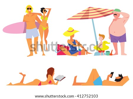 People on beach bitmap isolated. Sexy girl on beach. Family on beach. Young couple on beach. Different people on white background. - stock photo