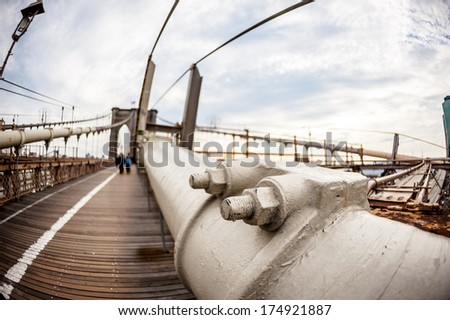 People on brooklyn bridge - stock photo