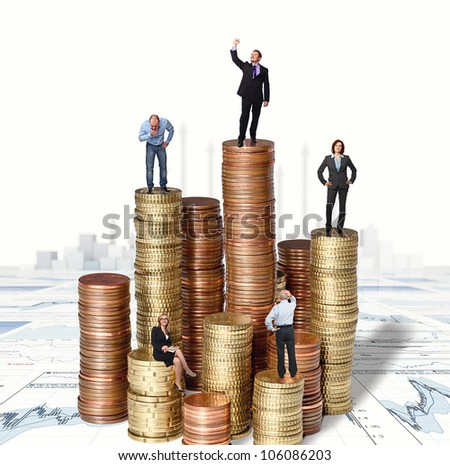 people on euro coin pile and 3d background - stock photo