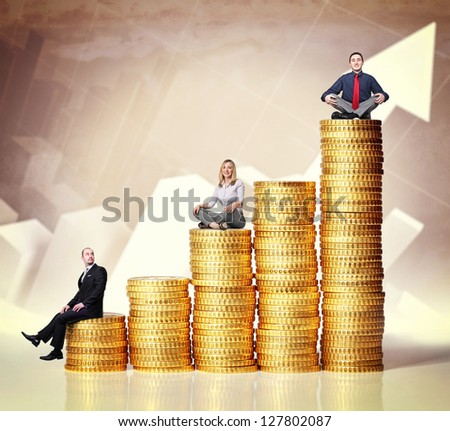 people on euro coin piles and chart background - stock photo