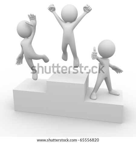 People on podium - stock photo
