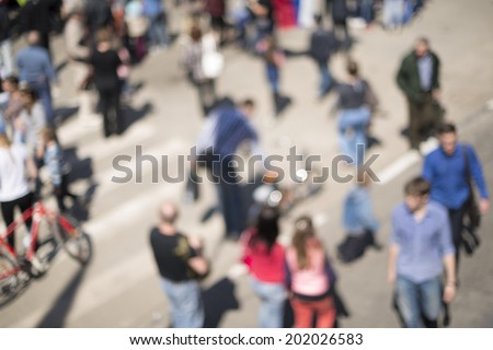 people on the street,lens blur - stock photo