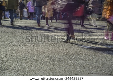 people on zebra crossing street - stock photo