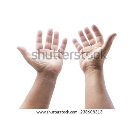 People open empty two hands with palms up and raising hands to ask for something. Human hands of people begging for help. Pray for support concept. Isolated on white background.  - stock photo