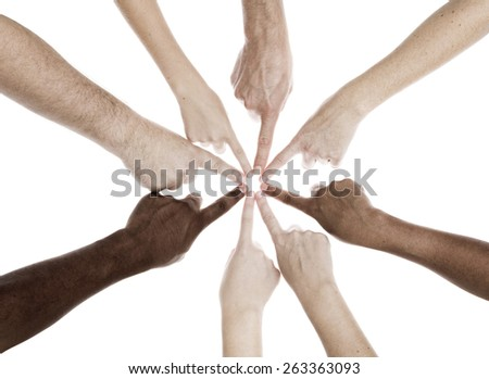 People People of different generations ethnicity and sex united by their index finger - stock photo