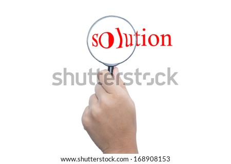 "people person with magnifying glass and word ""solution""  - stock photo"