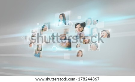 People portraits flying with high speed digital technology concept - stock photo