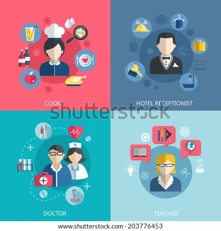 People professions concept flat icons set of cook doctor hotel receptionist and school teacher jobs for infographics design web elements  illustration - stock photo