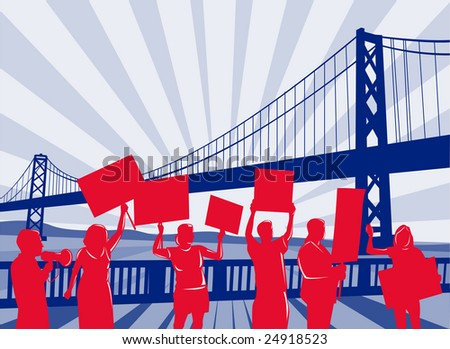People protesting with bridge in the background - stock photo