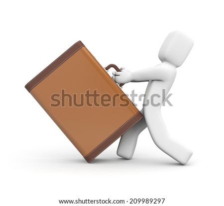 People pulls a vintage suitcase - stock photo