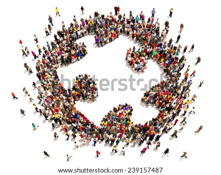 People putting the pieces together concept . Large group of people forming the shape of a puzzle piece with room for text or copy space on a white background. - stock photo