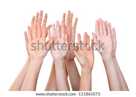 People raise hands - stock photo
