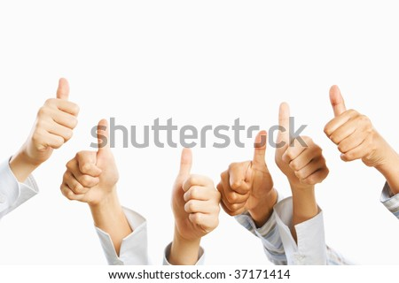 People raise their thumb up above over the white background - stock photo