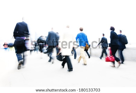 People Rushing in City Life, London - stock photo