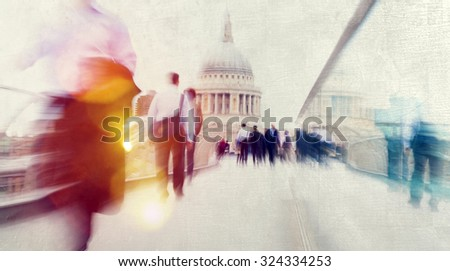People Rushing in London Walking Commuter Concept - stock photo
