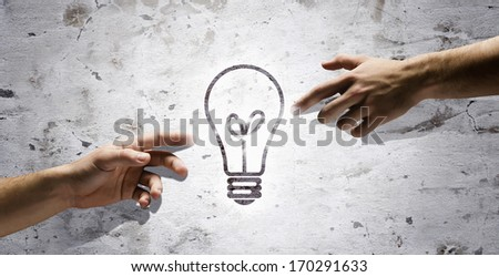 People's interaction and creativity. Having new ideas and inspiration - stock photo