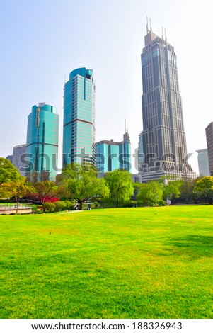 People's Square park in the center of Shanghai, China - stock photo