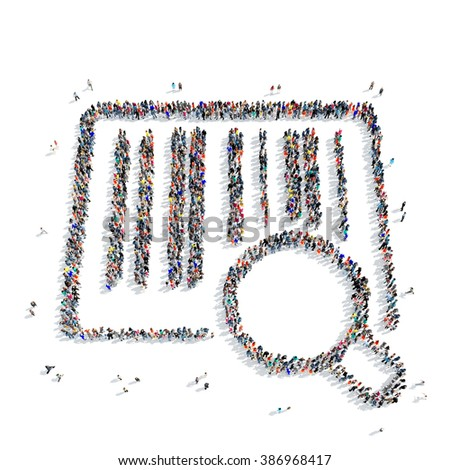 people  shape  barcode purchase - stock photo
