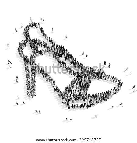 people  shape  shoes cartoon - stock photo