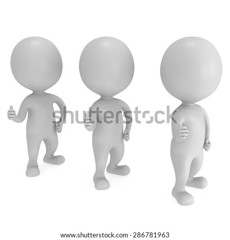 People showing thumbs up over white background. 3D render. - stock photo