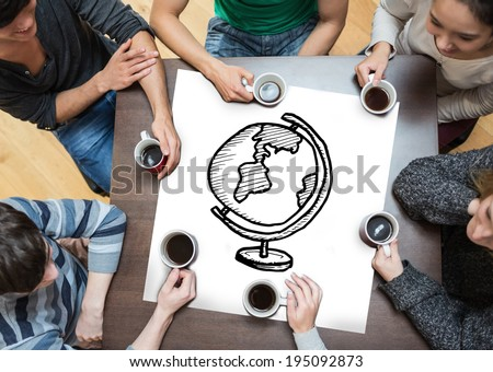 People sitting around table drinking coffee with page showing globe - stock photo