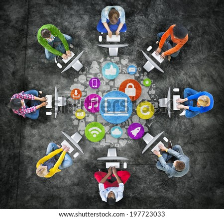 People Social Networking and Computer Network Concepts - stock photo