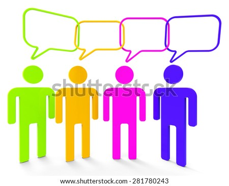 People Speaking Indicating Point Of View And Chit Chat - stock photo