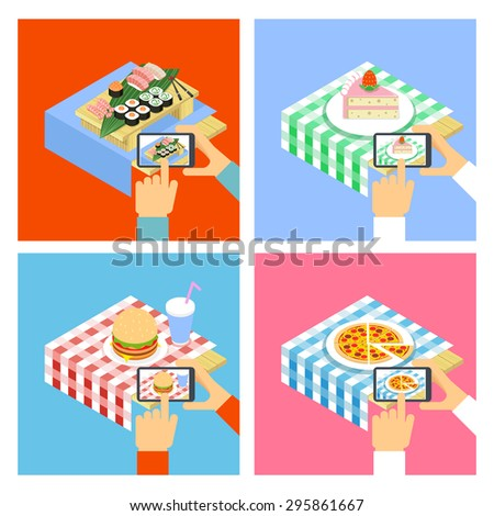People taking photo of food with smartphone concept illustration - stock photo