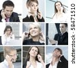 People talking on the phone. Collage made of nine pictures. - stock photo