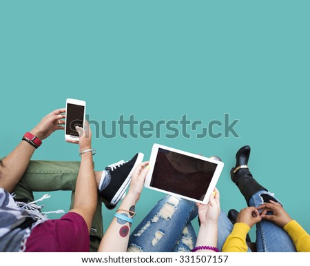 People Technology Online Social Media Tablet - stock photo