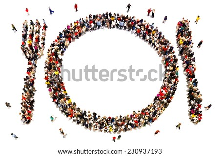 People that like to eat, going out to dinner concept. Large group of people in the shape of a knife, fork , and plate on a white background. Room for text or copy space. - stock photo
