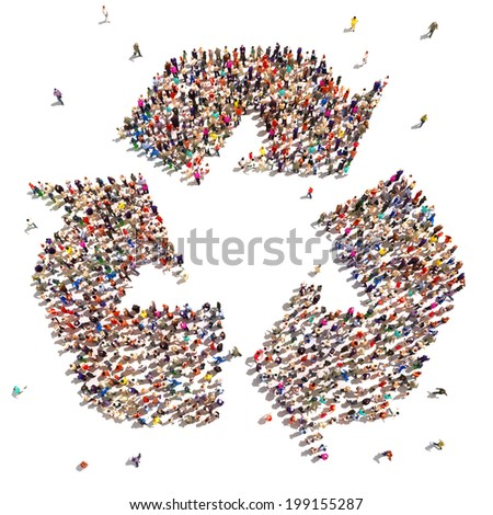 People that recycle . Large group of people in the shape of a recycle symbol that support environmental change. - stock photo