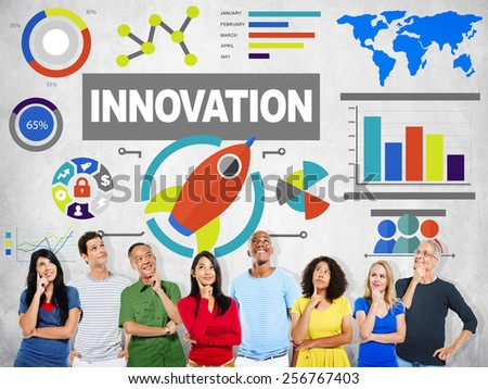 People Thinking Creativity Growth Success Innovation Concept - stock photo