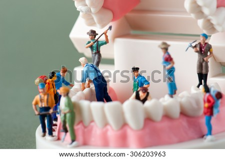 People to repair a tooth - stock photo
