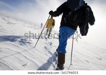People trekking in snow - stock photo