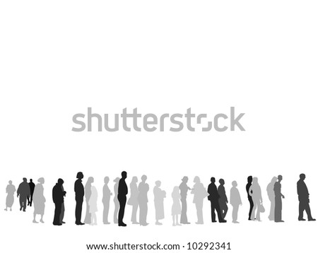 people waiting in line - stock photo