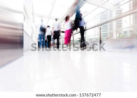 people walking in rush hour - stock photo