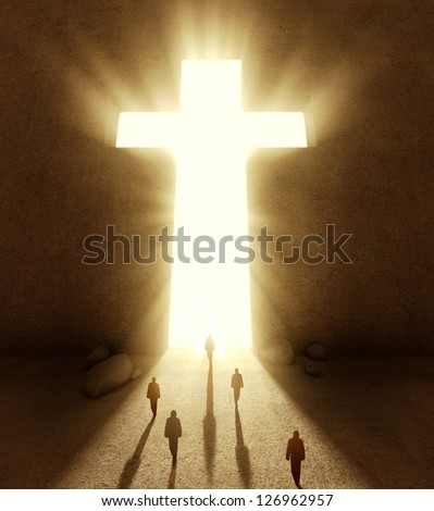 People walking towards a huge cross passage - stock photo