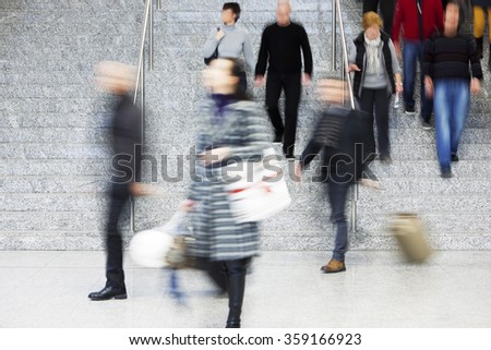People Walking Up Stairs, Motion Blur - stock photo