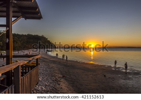 People watching the beautiful sunset on a great summer evening in Australia. - stock photo