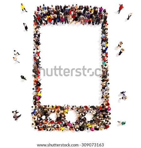 People who use wireless communication. Large group of people in the shape of a cell phone icon symbol with room for text or copy space, cell phone advertisement concept isolated on a white background. - stock photo